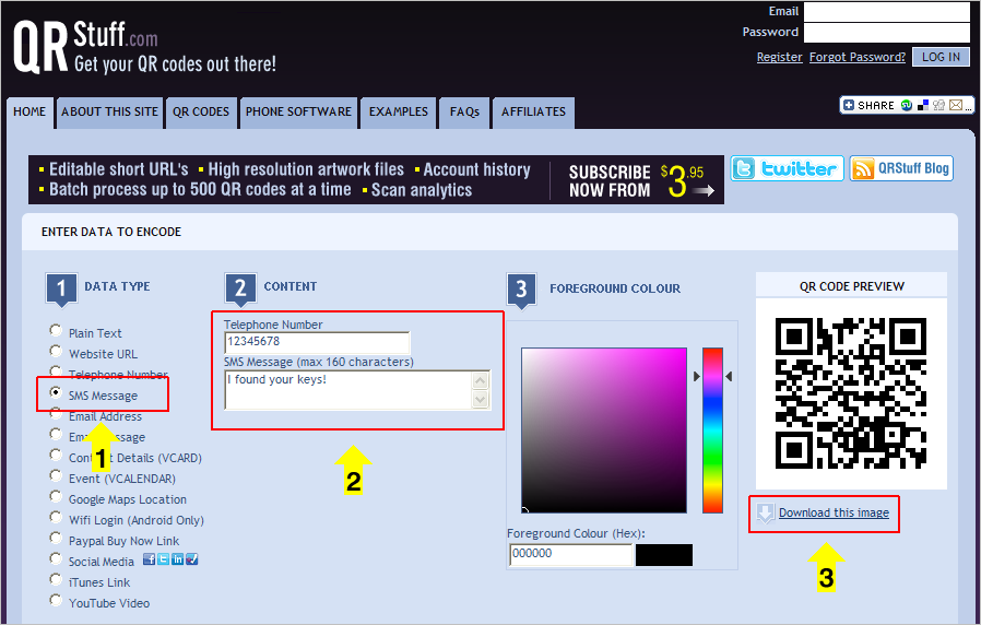 Creating An SMS QR Code