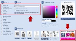 To get your Visual QR Code just vist www.qrstuff.com