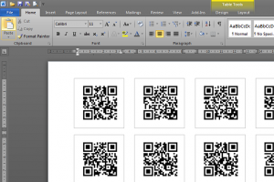 The finished label template populated with the images from your data source