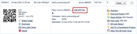 Edit a PDF file QR code