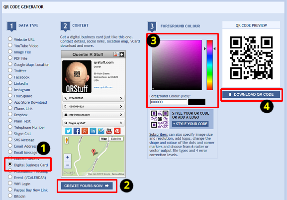 QR Codes For Contacts