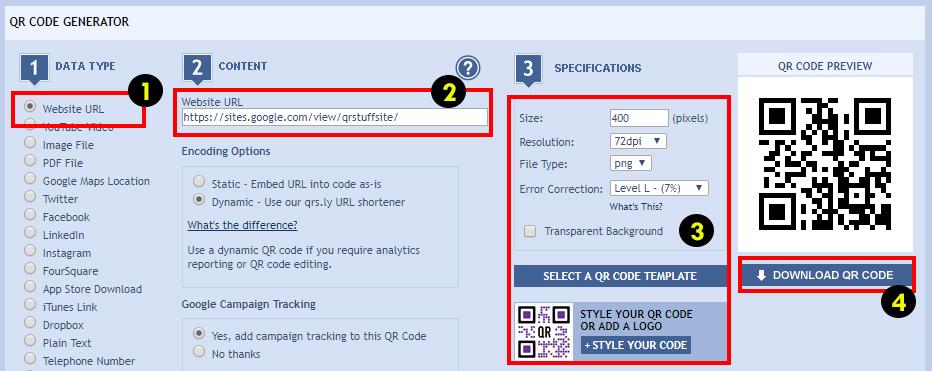 QR Codes For Free Google Sites - QRStuff com